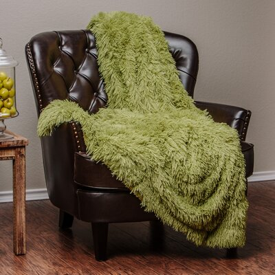 Shaggy Super Elegent Sherpa Long Fur Throw Color: Green, Size: 50 W x 65 L