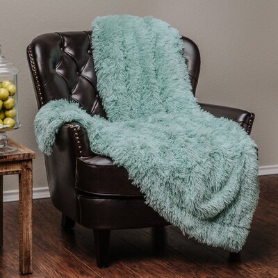Shaggy Super Elegent Sherpa Long Fur Throw Color: Turquoise, Size: 60 W x 70 L