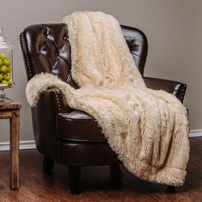 Shaggy Super Elegent Sherpa Long Fur Throw Color: Ivory, Size: 85 W x 92 L