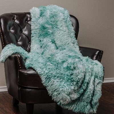 Super Soft Shaggy Faux Fur Print Throw Blanket Color: Turquoise