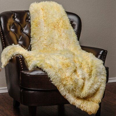 Super Soft Shaggy Faux Fur Print Throw Blanket Color: Yellow