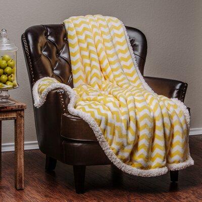 Super Soft Sherpa Chevron Throw Blanket Color: Yellow