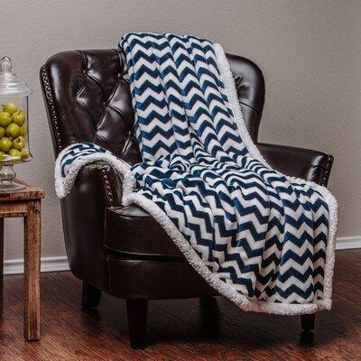 Super Soft Sherpa Chevron Throw Blanket Color: Navy