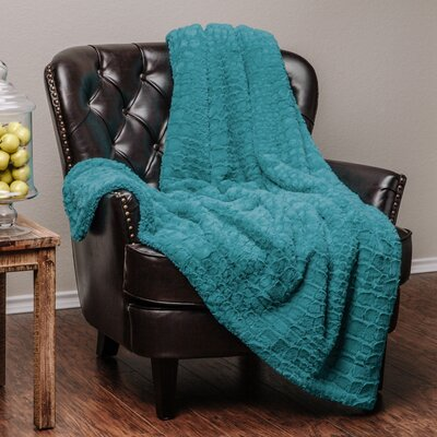 Embosed Pattern Super Soft Fuzzy Warm Fur Throw Blanket Color: Teal