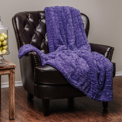 Embosed Pattern Super Soft Fuzzy Warm Fur Throw Blanket Color: Purple
