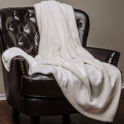 Super Soft Warm Elegant Cozy and Decorative Velvet Fleece Throw Blanket Color: White