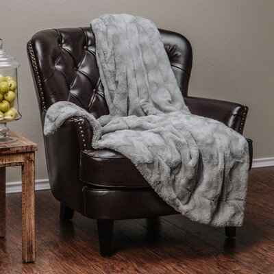 Super Soft Warm Elegent Waivey Pattern Cozy Sherpa Throw Blanket Color: Gray