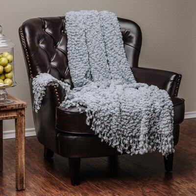 Decorative Woven Popcorn Texture Knit Throw Color: Silver, Size: 10 W x 12 L