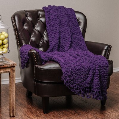 Decorative Woven Popcorn Texture Knit Throw Blanket Color: Aubergine
