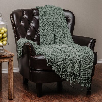Decorative Woven Popcorn Texture Knit Throw Blanket Color: Olive Green