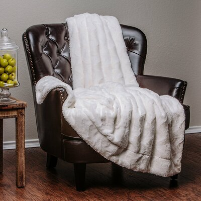 Super Soft Warm Elegent Waivey Pattern Cozy Sherpa Throw Blanket Color: White