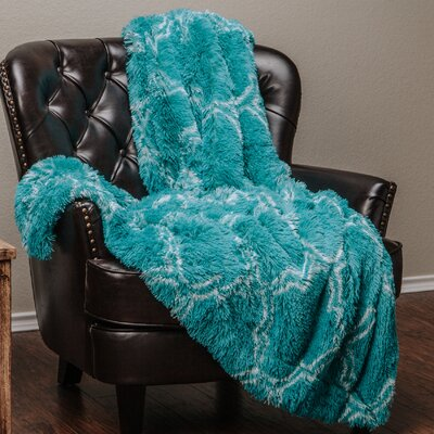 Shaggy Throw Blanket Color: Teal