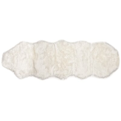 Lucille Faux Fur White Indoor/Outdoor Area Rug