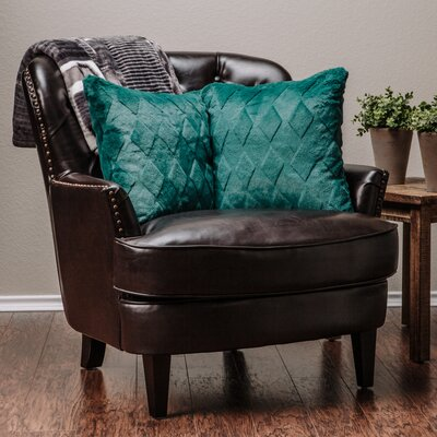 Diamond Shape Throw Pillow Case (Set of 2) Color: Teal