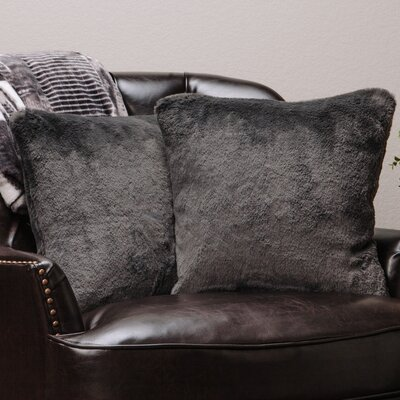Super Soft Elegant Faux Fur Throw Pillow Case (Set of 2) Color: Dark Gray