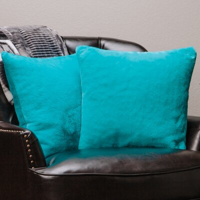 Super Soft Elegant Faux Fur Throw Pillow Case (Set of 2) Color: Teal