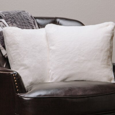 Super Soft Elegant Faux Fur Throw Pillow Case Color: Ivory