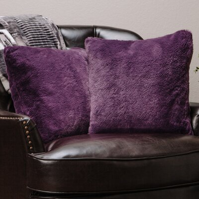 Super Soft Elegant Faux Fur Throw Pillow Case Color: Aubergine