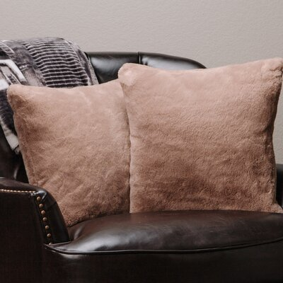 Super Soft Elegant Faux Fur Throw Pillow Case Color: Beige