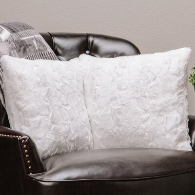 Super Soft Elegant Faux Fur Throw Pillow Case (Set of 2) Color: White