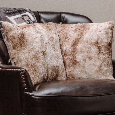 Super Soft Elegant Faux Fur Throw Pillow Case (Set of 2) Color: Beige