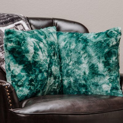 Super Soft Elegant Faux Fur Throw Pillow Case Color: Teal