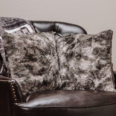 Super Soft Elegant Faux Fur Throw Pillow Case Color: Gray