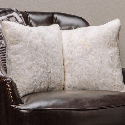 Super Soft Elegant Faux Fur Throw Pillow Case (Set of 2) Color: Ivory