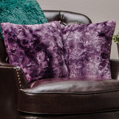 Super Soft Elegant Faux Fur Throw Pillow Case Color: Blue