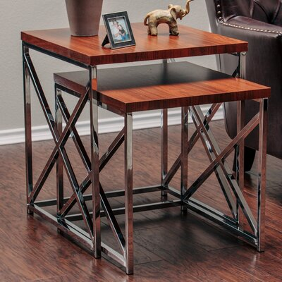 2 Piece Nesting Tables Finish: Brown