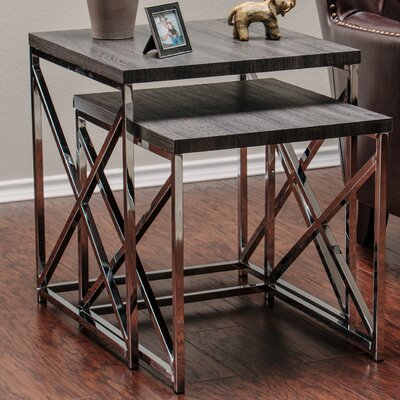 2 Piece Nesting Tables Color: Charcoal