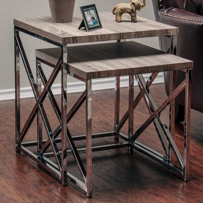 2 Piece Nesting Tables Color: Gray