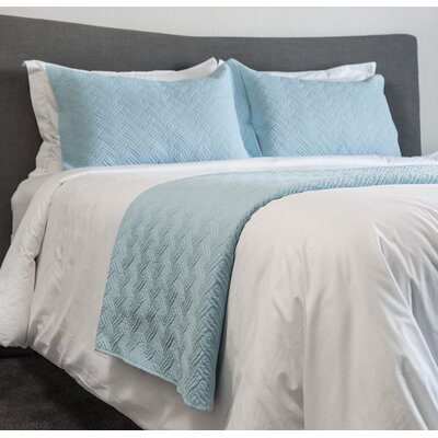Parkersburg 3 Piece Embroidery Coverlet Set Color: Blue, Size: Queen