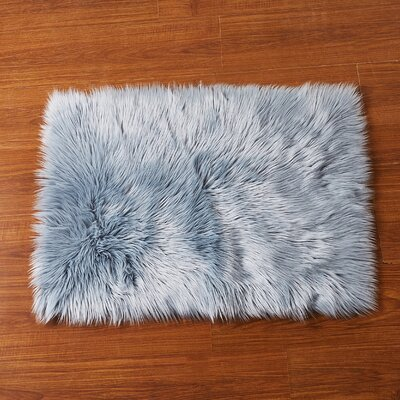 Lucille Chair Cover Shaggy Gray Area Rug