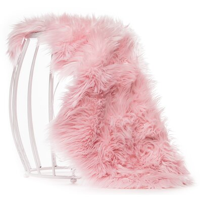 Lucille Faux Sheepskin Pink Indoor/Outdoor Area Rug