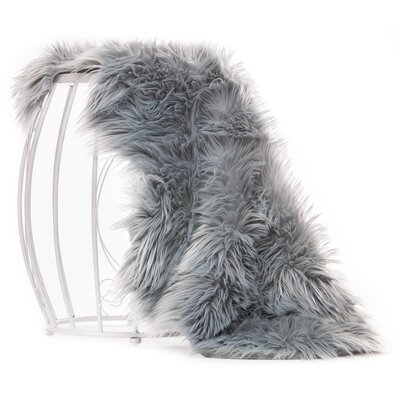 Lucille Faux Sheepskin Gray Indoor/Outdoor Area Rug