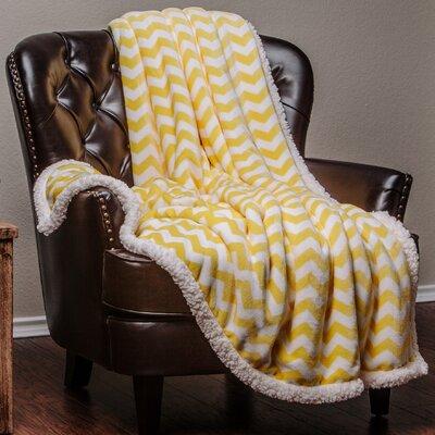 Super Soft Sherpa Chevron Throw Color: Yellow, Size: 50 W x 65 L
