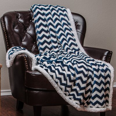 Super Soft Sherpa Chevron Throw Color: Navy, Size: 50 W x 65 L
