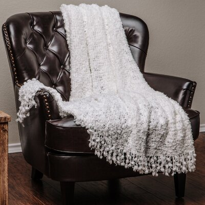 Decorative Woven Popcorn Texture Knit Throw Color: White, Size: 50 W x 60 L