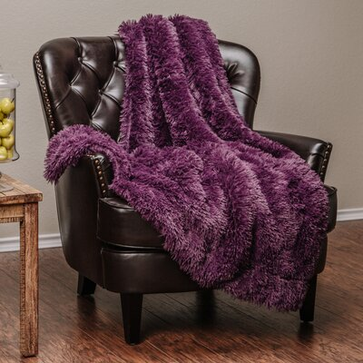 Shaggy Super Elegent Sherpa Long Fur Throw Size: 60 W x 70 L, Color: Aubergine