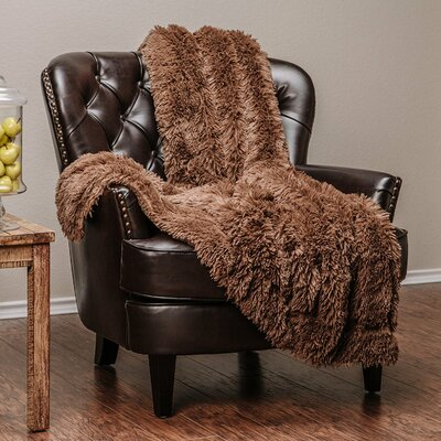 Shaggy Super Elegent Sherpa Long Fur Throw Size: 60 W x 70 L, Color: Chocklate