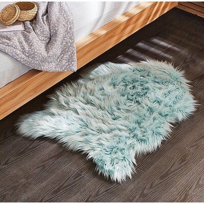Shannon Faux Sheepskin Turquoise Indoor/Outdoor Area Rug