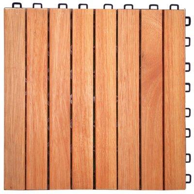 Cadsden 8 Slat 12 x 12 Wood Interlocking Deck Tile in Brown