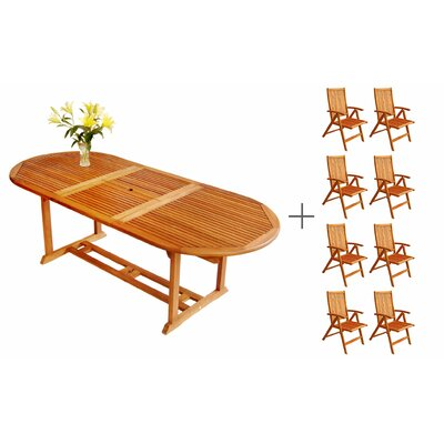 LuuNguyen Tullamore 9 Piece Extendable Dining Set