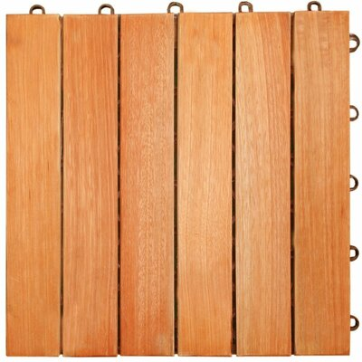 Cadsden Hardwood 12 x 12 Interlocking 6 Slat Deck Tile