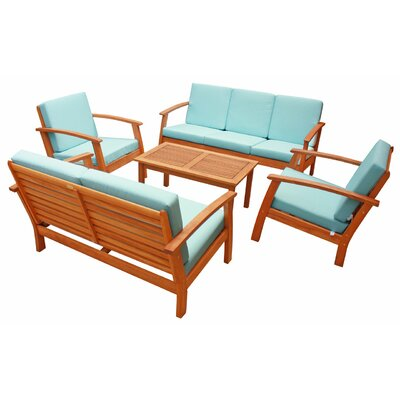 Cadsden 5 Piece Deep Seating Group with Cushion Fabric: Crystal Blue