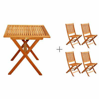 LuuNguyen Win 5 Piece Folding Bistro Dining Set