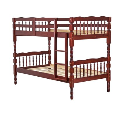 Talon 100% Solid Wood Slat Twin Over Twin Bunk Bed Color: Mahogany