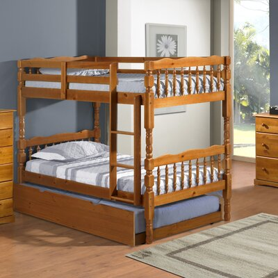 Talon 100% Solid Wood Slat Twin Over Twin Bunk Bed Color: Honey Pine