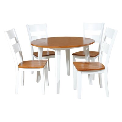 Caroline 5 Piece Dining Set Finish: Oak/White